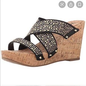 XOXO Belicia Cork Wedge Sandals With Studs Bling 9